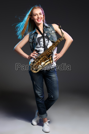 beautiful blonde as saxophonist woman