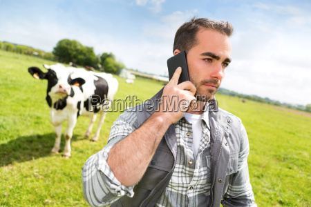 young attractive farmer in a pasture