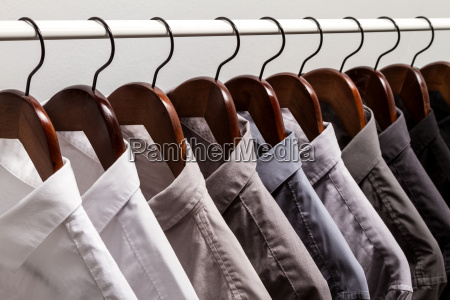 several shirts on a hanger