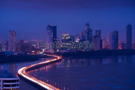 panama city night skyline view of