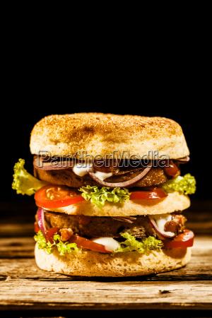 double decker green spelt burger with