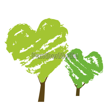 trees in heart shape symbolizing environmental