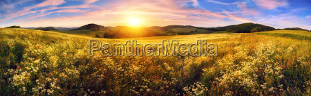 panorama of a colorful sunset on