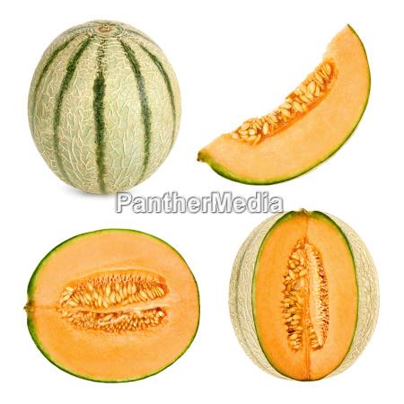cantaloupe melon cut in 4 different