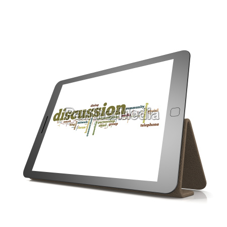 discussion word cloud on tablet