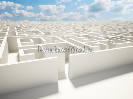maze wall and blue sky illustration