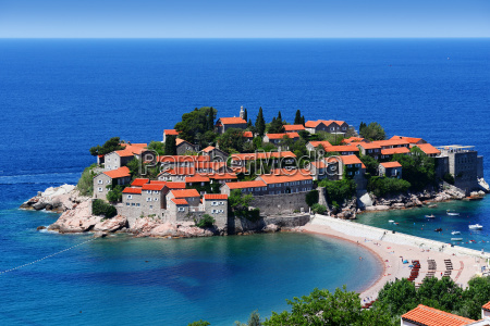 sveti stefan island near city of