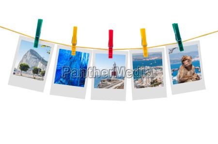five photos of gibraltar on clothesline