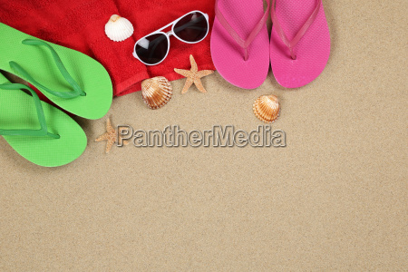 beach scene in the summer and