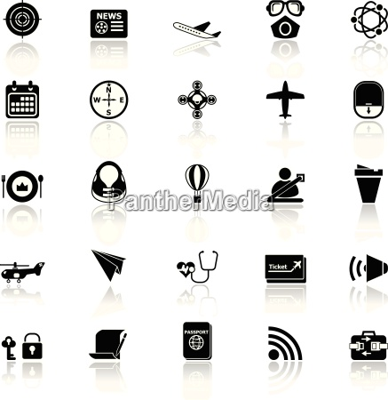 air transport related icons with reflect