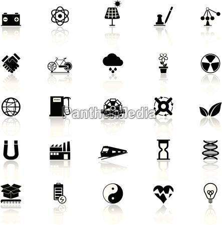 renewable energy icons with reflect on