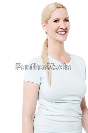 relaxed woman posing over white
