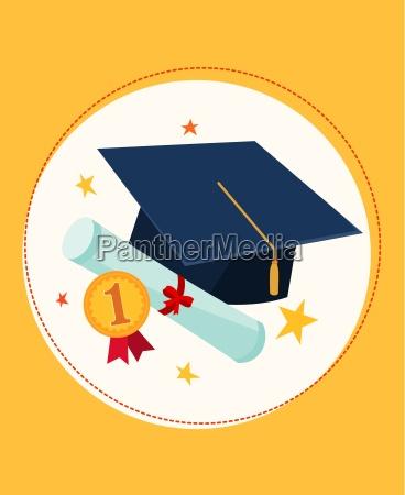 graduation cap and award