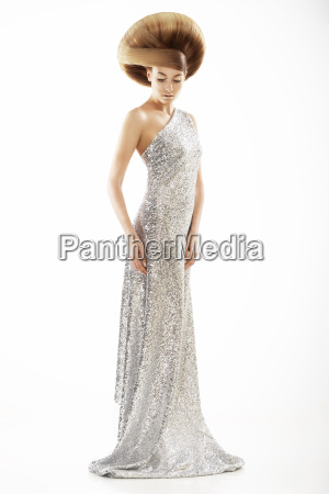 vogue style trendy woman in silver