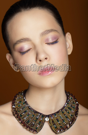 dreamy woman with closed eyes and