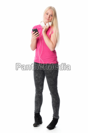 young blonde woman with headphones and