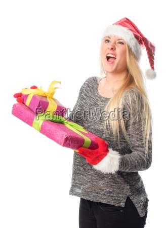 christmas woman holds a gift and