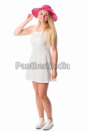 girl in white dress with hat