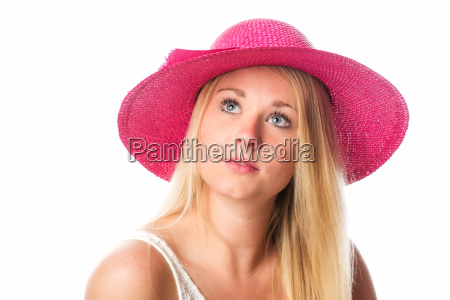 pensive girl with hat in portrait