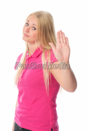 young blonde woman in defensiveness
