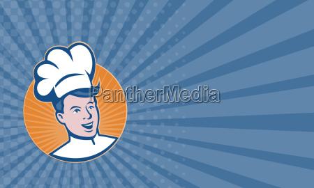 business card chef cook baker retro