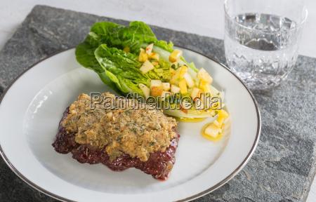 beef steak with mustard herb crust