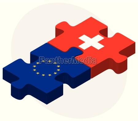 european union and switzerland flags