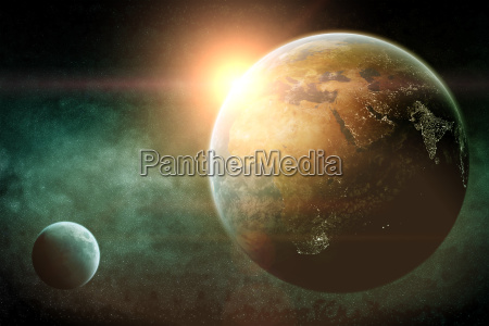 sunrise over planets in space