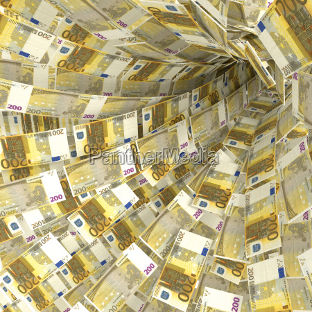 money swirls from 200 euro notes