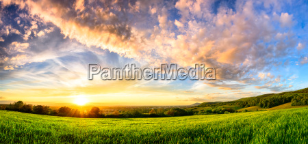 panoramic of a colorful sunset on