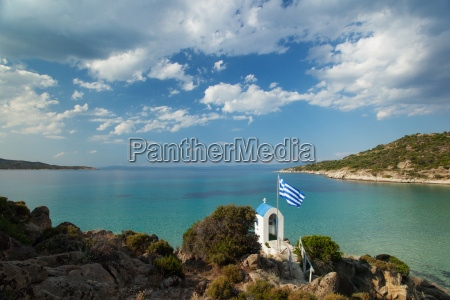 greek chapel and the sea