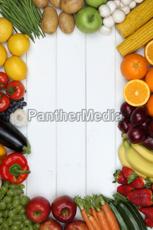 frame of vegetables and fruits such