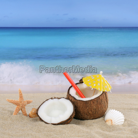coconut fruits cocktail drink in summer