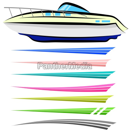 set of boat graphics isolated on