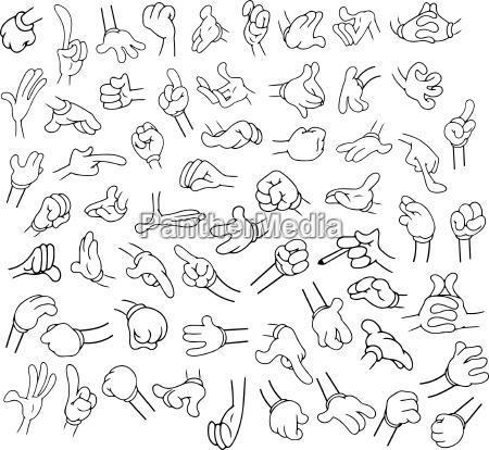 cartoon hands pack lineart 1