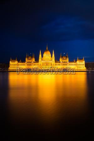 hungarian parliament building in golden light