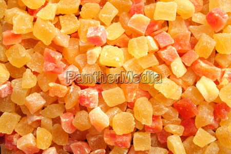 dried pineapple and papaya pieces background