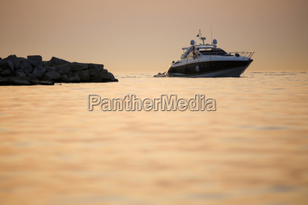 boat with dinghy in adriatic sea