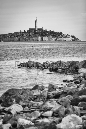 view of rovinj town bw