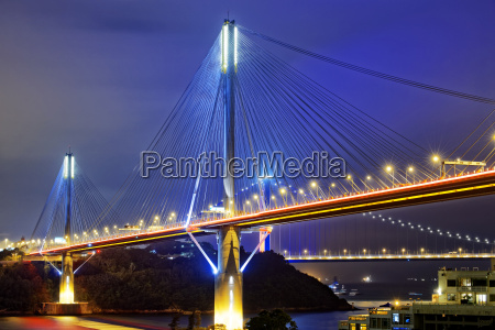 ting kau bridge at night