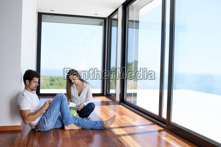 relaxed, young, couple, at, home, staircase - 14325645