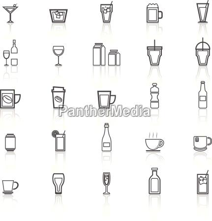 icones de linha bebida com reflexao