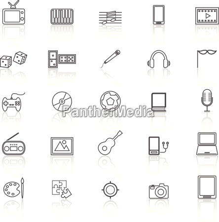 entertainment line icons with reflect on