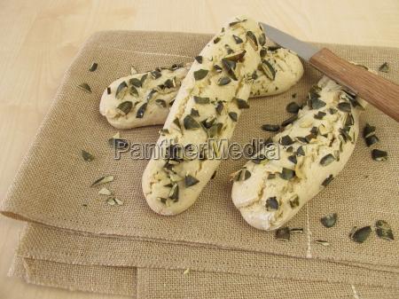 breadsticks with pumpkin seeds