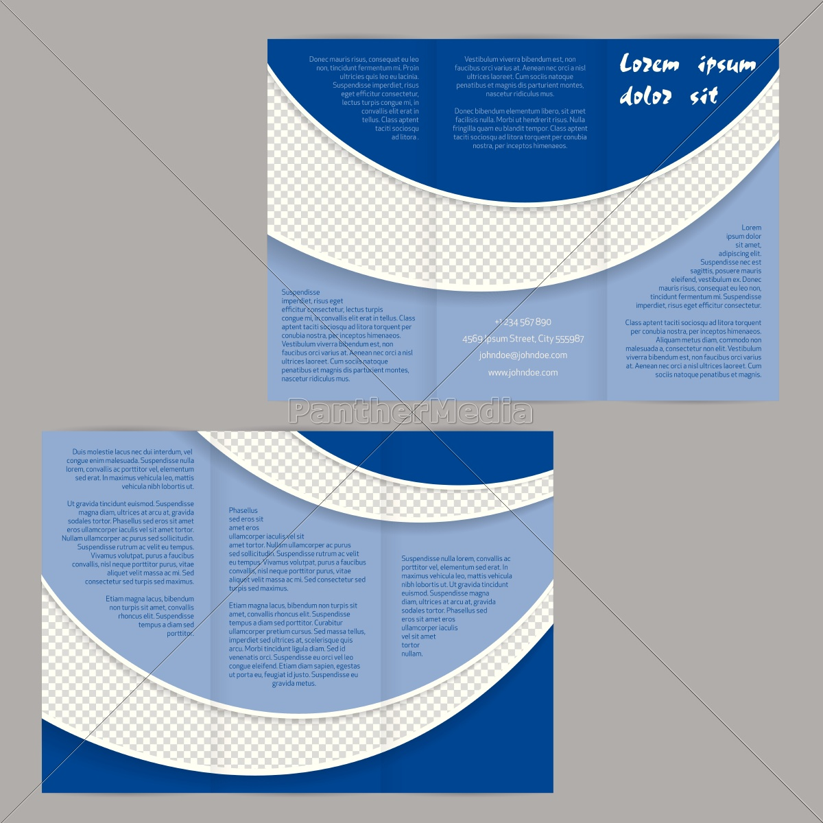 tri-fold, flyer, brochure, template, with, blue - 14326885