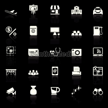 application icons with reflect on black