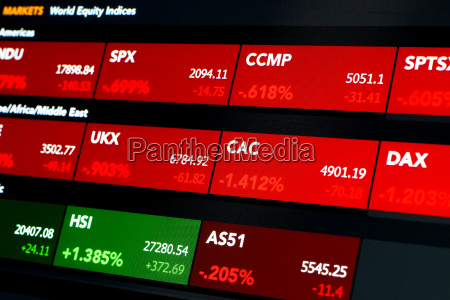equity index tags with prices red
