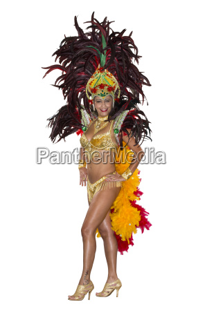carnival samba dancer dressed in feather