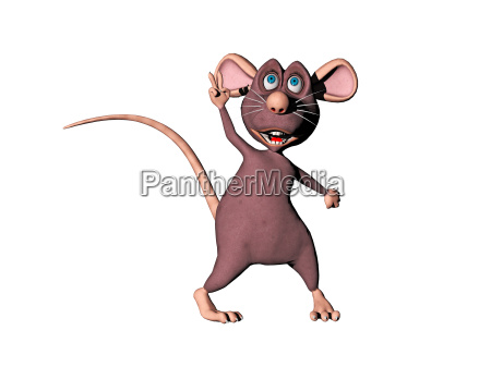 comic mouse posing isolated