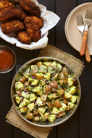 potato salad with breaded fried chicken